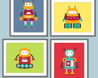 Robot Nursery Art, Robot Decor, Baby Boy Robots, Toddler Boy Decor, Children's Robot Print, Children's Art, Baby Boy Nursery Decor
