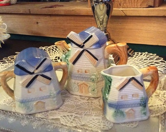 Vintage Windmill Tea Set with Teapot Sugar and Creamer. Blues and Cream Home Decor-Tea Pot Set-Tea Pot Collectibles