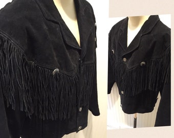 Fabulous Black Suede Fringed Rodeo/Cowboy/Country Western Jacket by Wilson's Leather Men's Size XL
