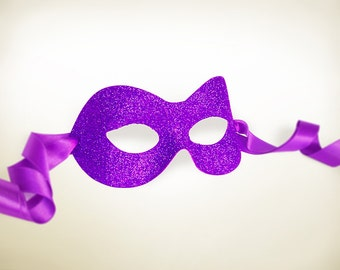 Glitter Purple Masquerade Mask  -  Shimmering Purple Venetian Style Halloween Mask - For Masquerade Ball, Prom, Costume Party, Wedding