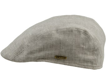 Pure 100% Natural Linen Summer Ivy League Flat Cap - beige