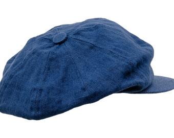 8 Panels 100% Linen Summer Newsboy Cap - blue