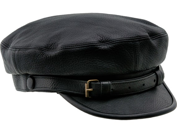 Genuine leather Fiddler / Breton 'Maciejowka' black cap. Gatsby / Irish / Newsboy style. Cap with lining. All sizes.