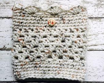 Crochet Boot Cuffs Aran Fleck Light Beige Legwarmers Painted Wood Button Chunky Socks Short Calf Warmers Handmade in USA