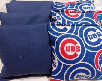 8 ACA Regulation Cornhole Bags - MLB Chicago Cubs on Red and Solid Blue