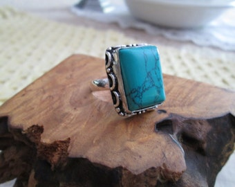 Sterling Silver Ring with a Rectangular Turquoise Stone