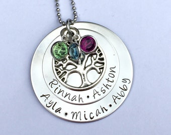 Mothers jewelry - personalized name pendant  necklace with Swarovski Birthstones and tree charm - Mothers necklace - family necklace