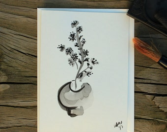 Plum blossom ikebana sumi e painting blank card/Sumi e painting/Black ink painting/Japanese painting/Black ink card