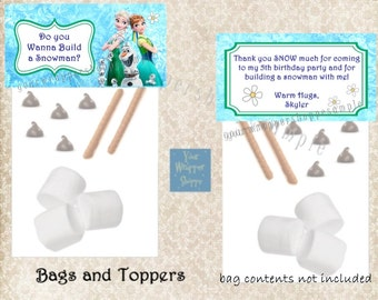 FROZEN FEVER Bags and Toppers Personalized Custom Party Favors Do You Want To Build A Snowman