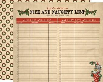 2 Sheets of Carta Bella Paper CHRISTMAS WONDERLAND 12x12 Scrapbook Paper - Naughty and Nice (CBCW46007)