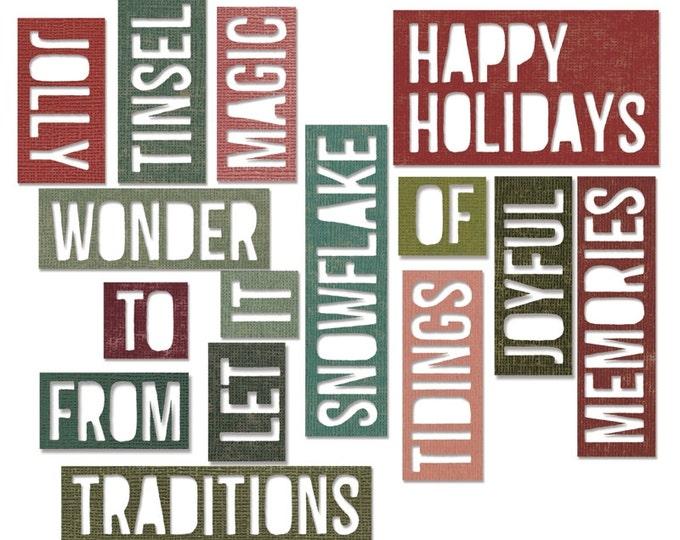 Sizzix Tim Holtz Alterations Thinlits Die Set 16PK - Holiday Words 2: Block 660976