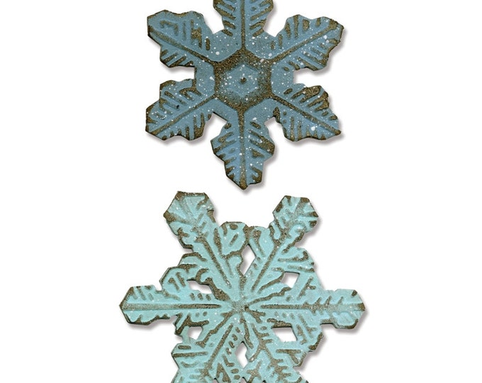 Sizzix Tim Holtz Alterations Winter Bigz Die w/Texture Fades Embossing Folder - Snowflake Duo