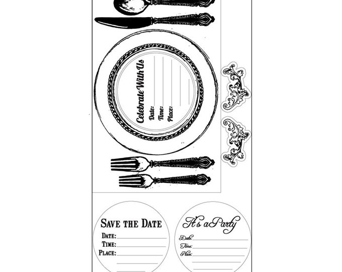 New! Sizzix Interchangeable Clear Stamps - Placemat Invite by Jen Long