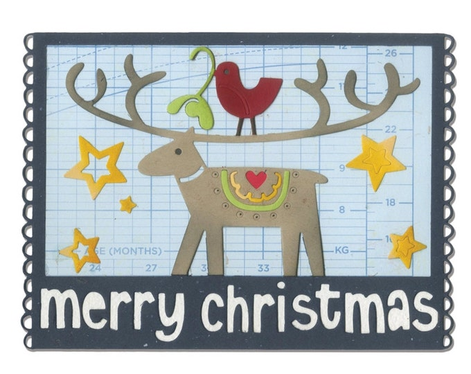 New! Sizzix Thinlits Die - Merry Christmas by Debi Potter
