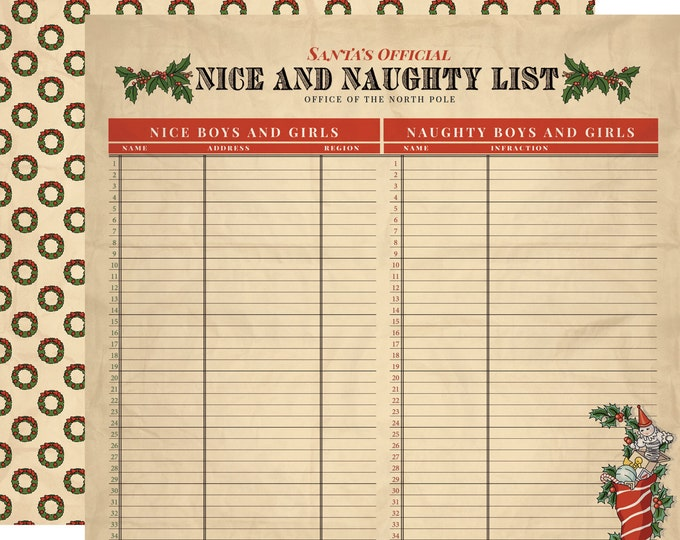 2 Sheets of Carta Bella Paper CHRISTMAS WONDERLAND 12x12 Scrapbook Paper - Naughty and Nice (CBCW46007)