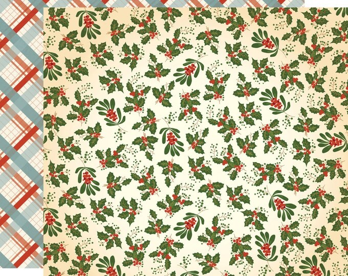 1 Sheet of Carta Bella Paper CHRISTMAS WONDERLAND 12x12 Scrapbook Paper - Holly and Mistletoe (CBCW46009)