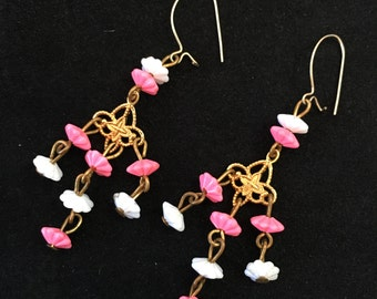Pink, White, and Gold Dangle Earrings, Pink and White Flower Drop Earrings, Chandelier Plastic and Metal Retro Kidney Close