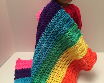 Rainbow Hand Crochet Quilted Doll Blanket