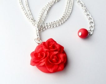 Polymer clay nacklace, flower nacklace, poppy red, poppy necklace, poppy jewelry, polymer clay jewelry, pendant