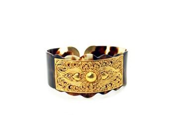 Gold Vermeil Faux Turtle Shell Cuff Bracelet
