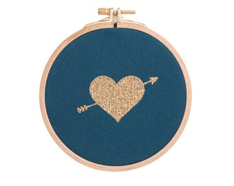Heart Wall frame - Blue petrol and gold - Valentine Day - St Valentin - House - Houseware - Decoration - Love - Christmas