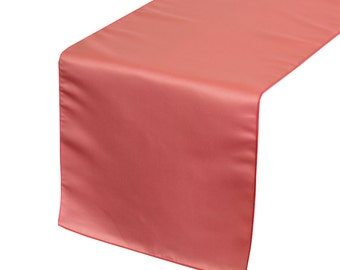 Coral Lamour Satin Table Runner | Wedding Table Runners