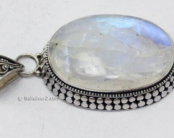 Sterling Silver Rainbow Moonstones   Bali design Pendent