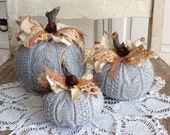 Sweater Pumpkins Set Of 3 Grey Fabric Pumpkins Fall Home Decor Shabby Cottage Chic Rustic Farmhouse style
