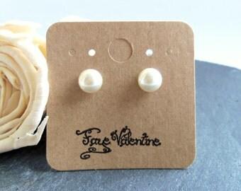 Cream pearl stud earrings, Swarovski pearl post earrings, Swarovski Elements, surgical steel earrings, 8mm pearl earrings, bridal jewelry