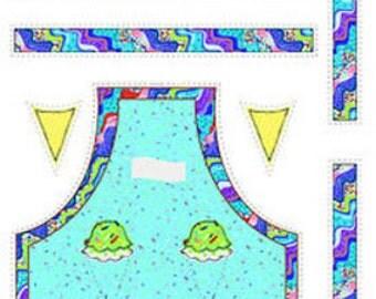 Ice Cream Apron Kit - Fabric Panel Children's Apron Fabric & Instructions