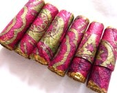 Paper art beads hand rolled tube beads Handmade Paper Bead - set of 6