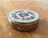 BIG Sale 30% 1940s Needlepoint Pill Box - Oval Pill Box - Mini Pill Box - Victorian - Downton Abbey