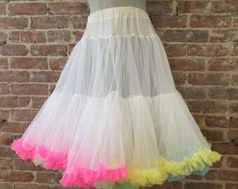 Size M / L - 1950s Sheer Rainbow Petticoat / Vintage Crinoline