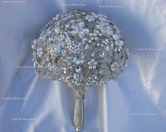 ready to ship silver champagne broach bouquet, jeweled bouquet, bling bouquet, alternative broach bouquet, bridal brooch bouquet