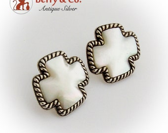 Modernist Mother Of Pearl Cross Post Earrings Sterling Silver Signed