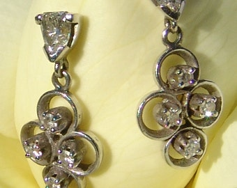 Art Deco White Gold Diamond Earrings