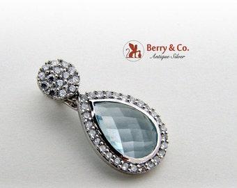 SaLe! sALe! Tear Drop Pendant Faceted Topaz Diamonds Sterling Silver