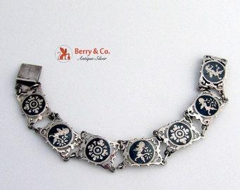 SaLe! sALe! Vintage Siamese Niello Bracelet Sterling Silver
