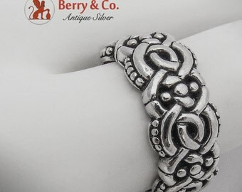 Ornate Celtic Knot Band Ring Sterling Silver 1980