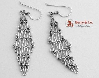 Diamond Form Mesh Dangle Earrings Sterling Silver