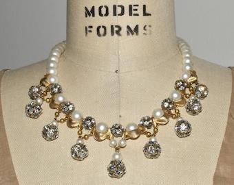 Pearl Rhinestonee Necklace Vintage Upcycled Crystal Glam