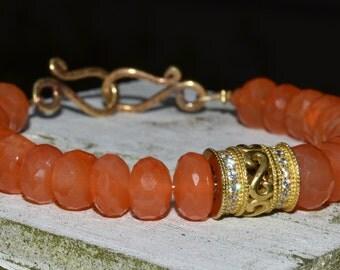 Faceted Carnelain Crystal Rhinestone Stacking Bracelet Juicy Orange and Gold Jewerly