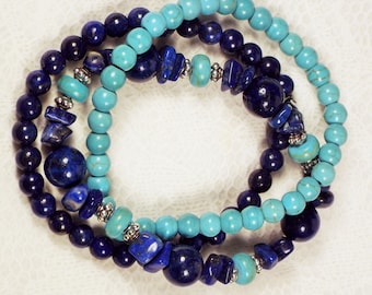 """Cynthia Lynn """"END OF SUMMER"""" Blue Lapis Lazuli and Turquoise Howlite Beaded Stretch Bracelet Set 7.5 inches"""