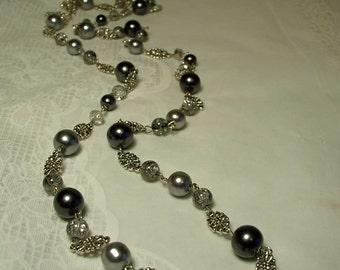 "Cynthia Lynn ""FADE TO GREY"" Tibetan Silver Light Grey & Gunmetal Pearl Smoky Crystal Long Necklace"