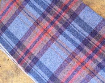 Vintage Blue red plaid Wool Blanket