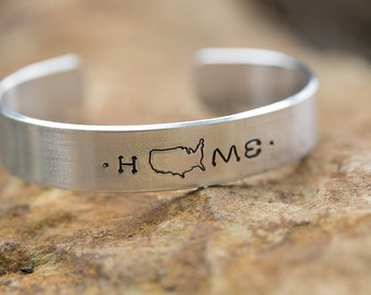 LDR Custom State Home Sweet Home CUFF Bracelet - Choose Your State