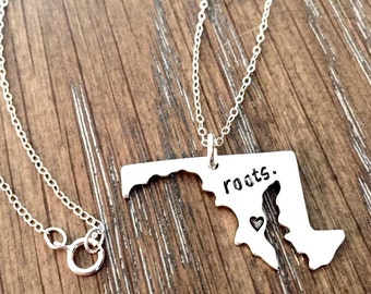 Maryland State Necklace - State charm necklace - Map Charm -Choose Your State