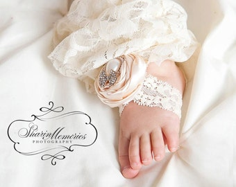 Ivory Barefoot Sandals/Baby Barefoot Sandals/Newborn Sandals/Baby Shoes/Photo Prop/Barefoot Sandals/Baby Shower Gift