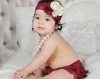 Burgundy Bloomers/Baby Bloomers/Ruffle Bloomers/Toddler Bloomers/Birthday Bloomer/Infant Bloomers/Lace Bloomers/Cake Smash/Baby Romper