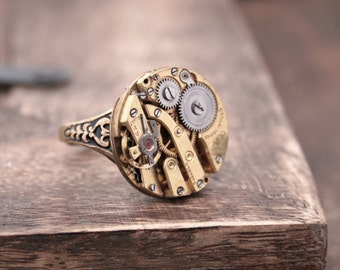 Gold Victorian Ring Statement Jewelry Round Steampunk Ring Watch Parts Jewellery Adjustable Floral Style Ring